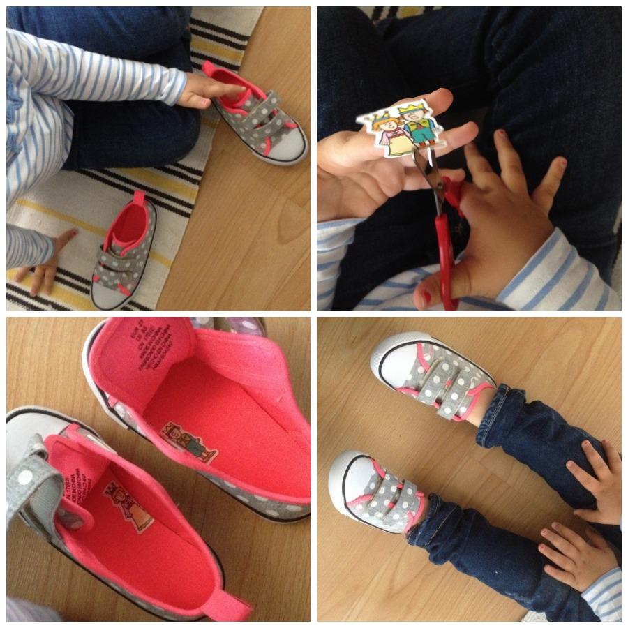 truco zapatillas diferenciar derecha izquierda niños